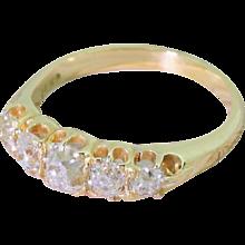 Victorian 1.65 Carat Old Cut Diamond Five Stone Ring, circa 1900