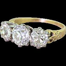 Art Deco 2.59 Carat Old Cut Diamond Trilogy Ring, circa 1915
