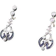 Victorian Sapphire & Old Cut Diamond Drop Earrings, circa 1870