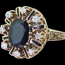 Art Deco 3.50 Carat Sapphire & Diamond Enamelled Ring, circa 1920