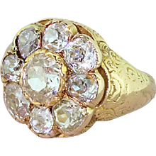 Victorian 3.50 Carat Old Cut Diamond Cluster Ring, circa 1880