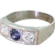 Retro Sapphire & Old Cut Diamond Trilogy Ring, circa 1945
