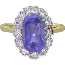 Late 20th Century 3.26ct Natural Purple Sapphire & Diamond Cluster Ring, dated 1974