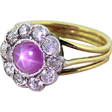 Victorian Pink Star Sapphire & Old Cut Diamond Cluster Ring, circa 1870