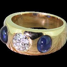 Victorian 0.90 Carat Old Cut Diamond & Cabochon Sapphire Gypsy Ring, circa 1900