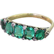 Victorian 2.25 Carat Doublet Emerald Five Stone Ring, circa 1900