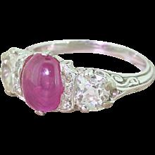 Art Deco 1.53 Carat Ruby & Old Cut Diamond Trilogy Ring, French, circa 1930