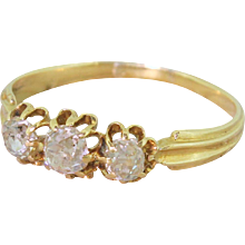 Edwardian 0.80 Carat Old Cut Diamond Trilogy Ring, French, circa 1905