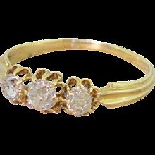 Edwardian 0.80 Carat Old Cut Diamond Trilogy Ring, French, circa 1905