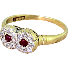 Victorian Ruby & Old Cut Diamond Double Cluster Ring, circa 1900