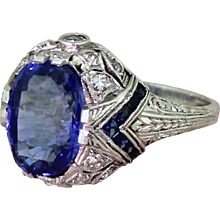 Art Deco 5.07 Carat Natural Ceylon Sapphire Solitaire Ring, circa 1925