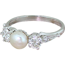Art Deco Natural Pearl & 0.67 Carat Old Cut Diamond Trilogy Ring, circa 1935