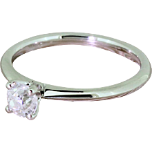 0.50 Carat Old Cut Diamond Engagement Ring, Platinum