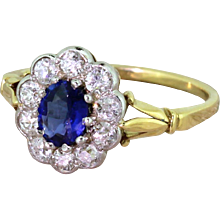 Edwardian 0.90 Carat Natural Sapphire & Diamond Cluster Ring, circa 1910