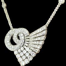 Art Deco 6.30 Carat Transitional Cut & Baguette Cut Diamond Pendant, circa 1940