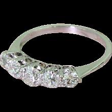 Art Deco 0.90 Carat Old Cut Diamond Five Stone Ring, circa 1935