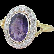 Edwardian 2.25 Carat Purple Sapphire & Old Cut Diamond Cluster Ring, circa 1905