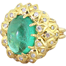 Retro 5.00 Carat Cabochon Colombian Emerald & Diamond Ring, circa 1945