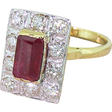 Late 20th Century 1.50 Carat Emerald Cut Ruby & Diamond Ring, circa 1975