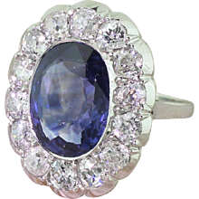 Mid Century 6.50 Carat Natural Ceylon Sapphire & Old Cut Diamond Ring, circa 1950