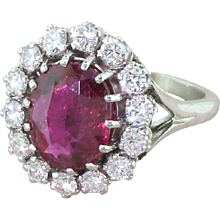 Late 20th Century 3.25 Carat Natural Thai Ruby & Diamond Ring, French, circa 1980