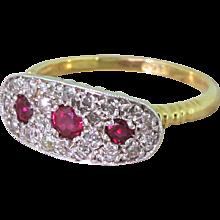 Mid Century Ruby & Old Cut Diamond Cluster Ring, circa 1955