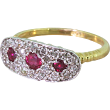 Mid Century Ruby & Old Cut Diamond Cluster Ring, circa 1955