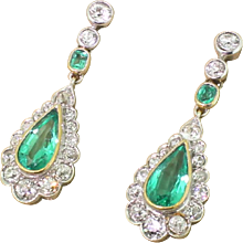 Mid Century 3.00 Carat Emerald & Old Cut Diamond Pear Drop Earrings, circa 1950