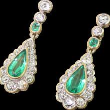 Mid Century 2.97 Carat Emerald & Old Cut Diamond Pear Drop Earrings, circa 1950