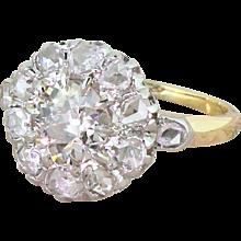 Art Deco 1.37 Carat Old Cut & Rose Cut Diamond Cluster Ring, circa 1920