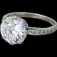 MAPPIN & WEBB 2.54 Carat Old Cut Diamond Ring, with Original Box & Receipt, 1942