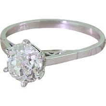 Art Deco 1.37 Carat Old Cut Diamond Engagement Ring, circa 1925