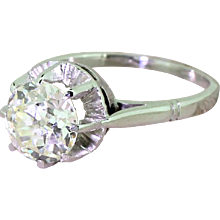 Art Deco 2.00 Carat Old Cut Diamond Engagement Ring, French, circa 1925