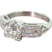 Retro 1.41 Carat Old Cut Diamond Engagement Ring, circa 1950
