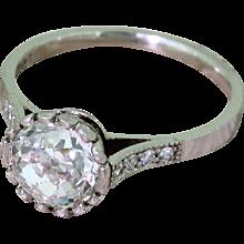 Art Deco 1.40 Carat Old Cut Diamond Solitaire Engagement Ring, circa 1920
