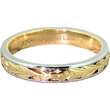 3.5mm Foliate Band Ring, 18k Yellow Gold & Platinum, dated 1987