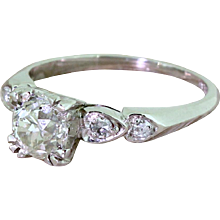Art Deco 1.09 Carat Old Cut Diamond Engagement Ring, circa 1925
