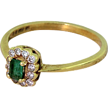 Late 20th Century Emerald & Diamond Cluster Ring, dated 1980