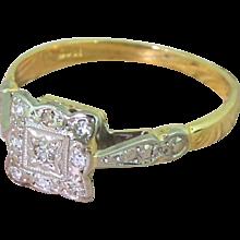 Mid Century Eight-Cut Diamond Square Cluster Ring, circa 1960