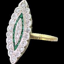 Mid Century Diamond & Calibre Cut Emerald Navette Ring, circa 1960