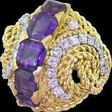 Mid Century 3.00 Carat Amethyst & Diamond Cocktail Ring, circa 1965