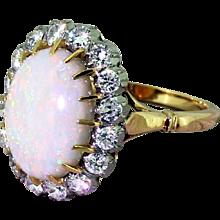 Mid Century Australian Opal & Brilliant Cut Diamond Cluster Ring, circa 1965