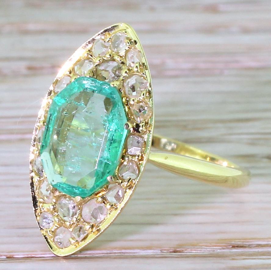 Edwardian Emerald Amp Rose Cut Diamond Navette Ring Circa