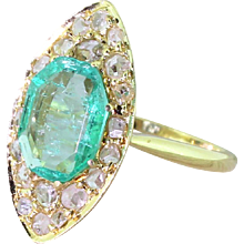 Edwardian Emerald & Rose Cut Diamond Navette Ring, circa 1905