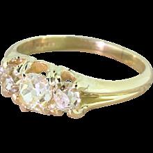 Victorian 1.20 Carat Fancy Light Yellow Old Cut Three Stone Ring, circa 1900
