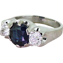 Retro 3.05 Carat Natural Sapphire & Old Cut Diamond Trilogy Ring, circa 1945