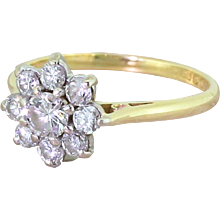 Late 20th Century 0.70 Carat Round Brilliant Cut Diamond Daisy Ring, circa 1970