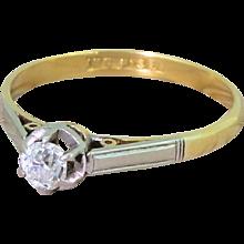 Art Deco 0.25 Carat Old Cut Diamond Engagement Ring, circa 1920