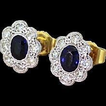 Mid Century 1.00 Carat Sapphire & Diamond Cluster Earrings, circa 1950