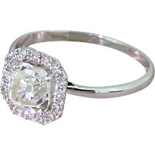 1.19 Carat Old Cushion Cut Diamond Halo Ring, 18k White Gold